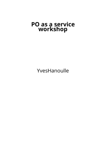 PO as a service workshop