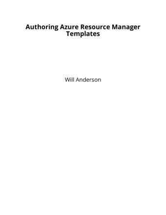 Authoring Azure Resource Manager Templates