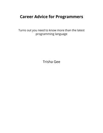 Career Advice for Programmers