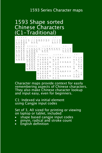 C1 Character Map, 1593 Traditional Chinese Characters