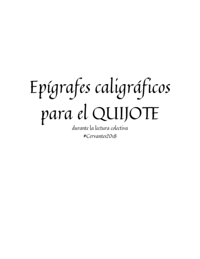 Epígrafes caligráficos para el Quijote