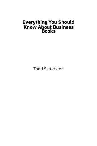 Everything You Should Know About Business Books