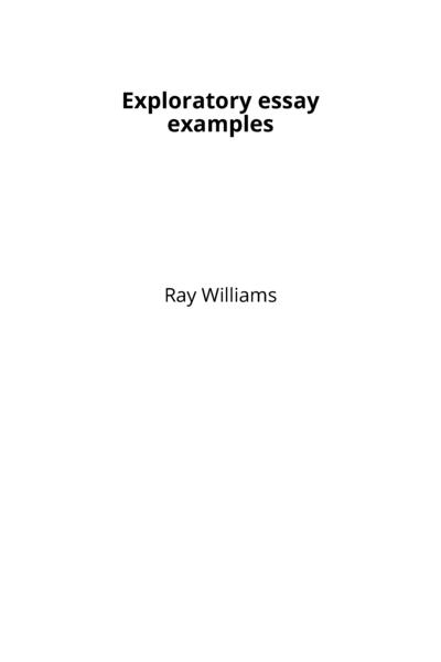 Exploratory essay examples