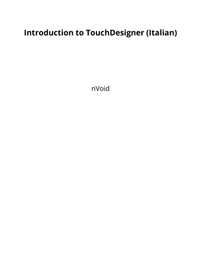 Introduction to TouchDesigner (Italian)