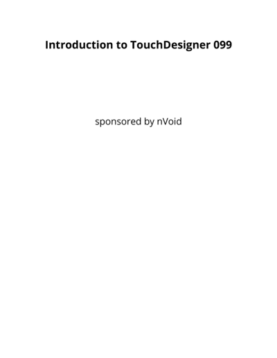 Introduction to TouchDesigner 099