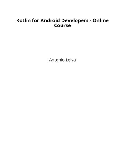Kotlin for Android Developers - Online Course