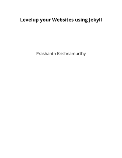 Levelup your Websites using Jekyll