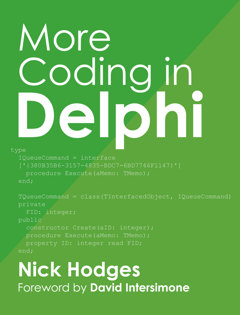 More Coding in Delphi by Nick Hodges [Leanpub PDF/iPad/Kindle]