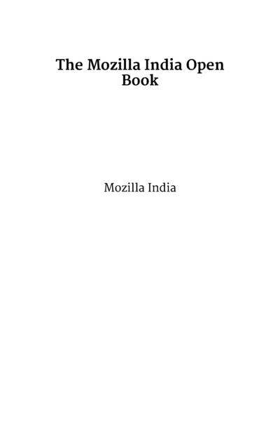 The Mozilla India Open Book