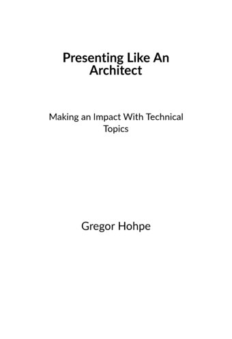 Presenting Like An Architect