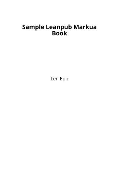 Sample Leanpub Markua Book