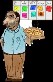 Scrum com pizza
