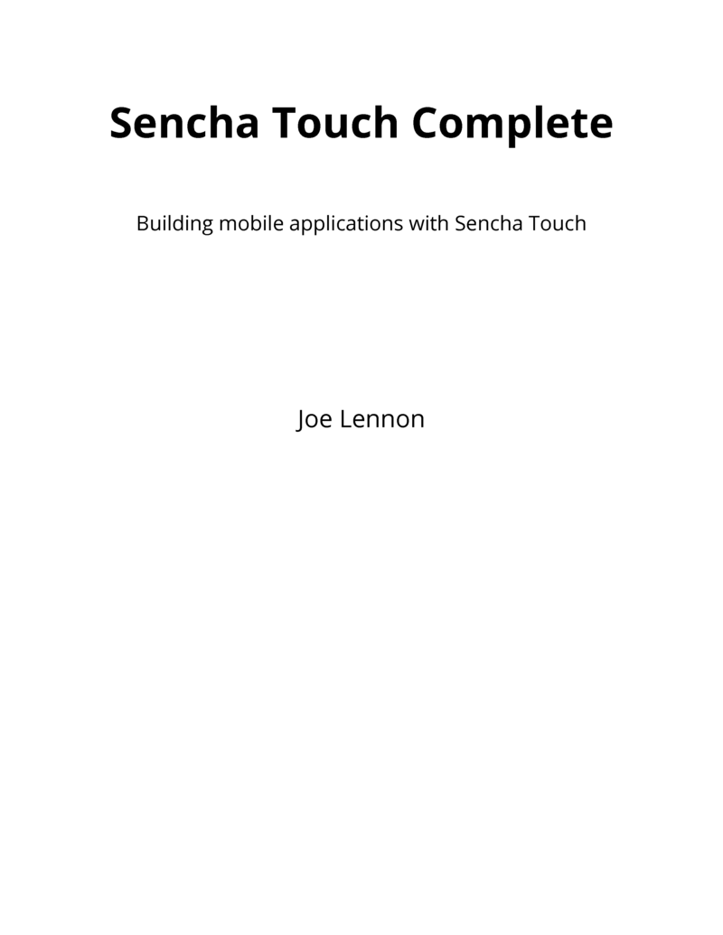 Preview-building-a-sencha-touch-application-v2. 00. Pdf | sencha.