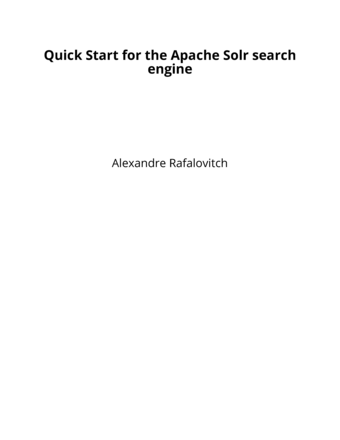 Quick Start for the Apache Solr search engine