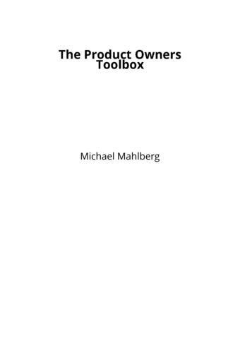 The Product Owners Toolbox