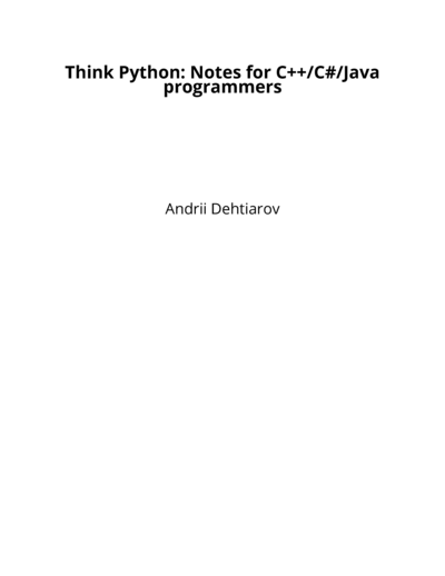 Think Python: Notes for C++/C#/Java programmers