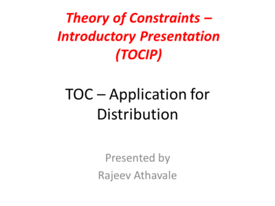 Theory of Constraints - Introductory Presentation for Distribution