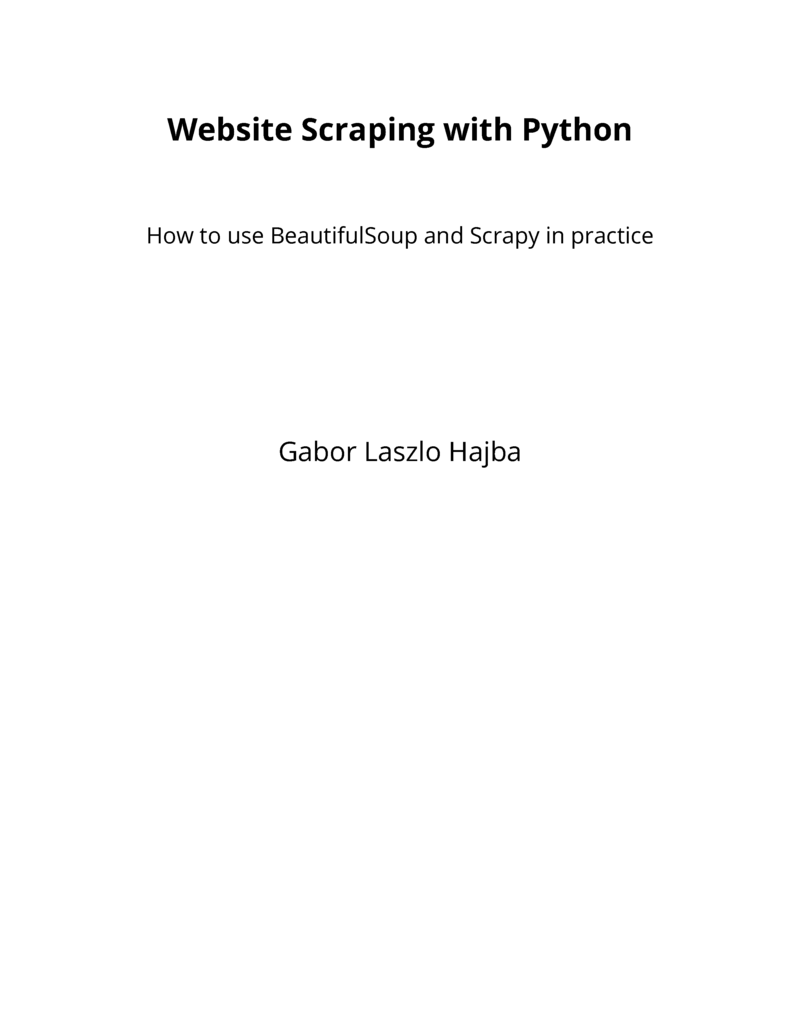 Website Scraping with… by Gábor László Hajba [PDF/iPad/Kindle]